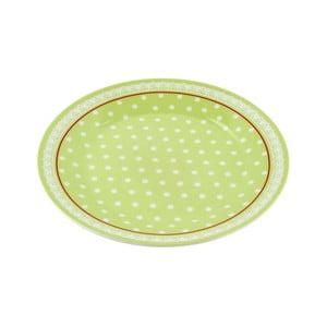 Porcelánový talíř Dots, zelený 4 ks
