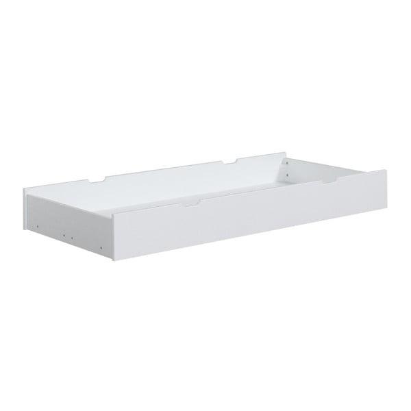 Bílá zásuvka z masivního borovicového dřeva pod dětskou postel Pinio Mini, 160x70cm