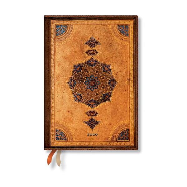 Brązowy kalendarz na rok 2020 w miękkiej oprawie Paperblanks Safavid, 160 str.