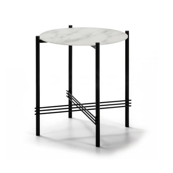 Biało-czarny stolik ze szklanym blatem w dekorze marmuru Marckeric, ø 47 cm