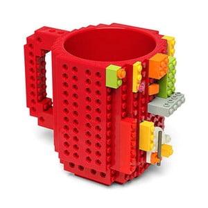 Červený plastový hrnek s motivem LEGO s kostičkami Just Mustard, 350ml