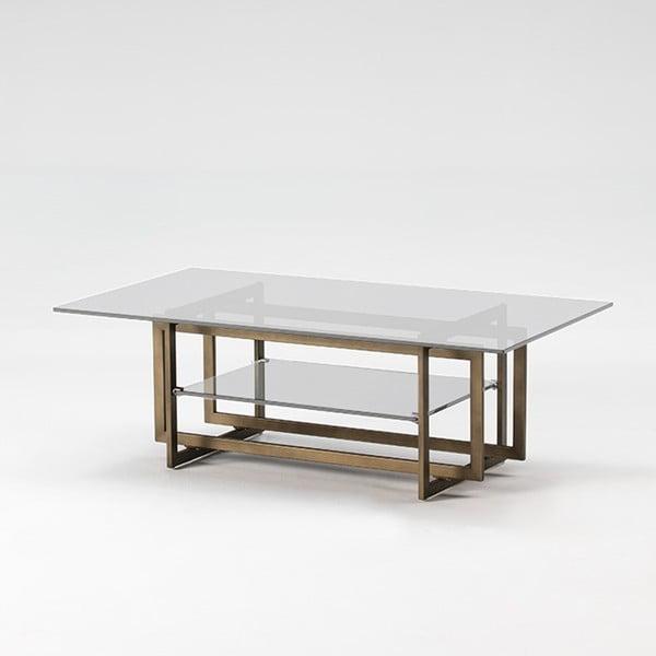 Konferenční stolek z kovu a skla Thai Natura Goldies, 120 x 65 cm
