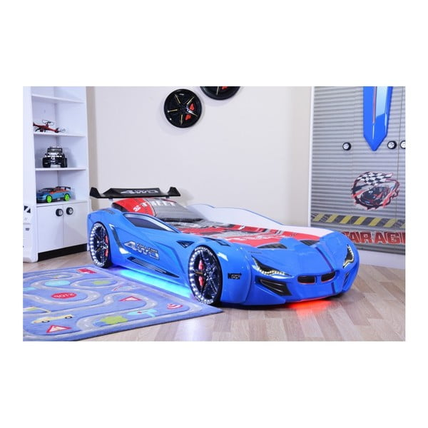 Pat în formă de automobil cu lumini LED pentru copii Fastero, 90 x 190 cm, albastru