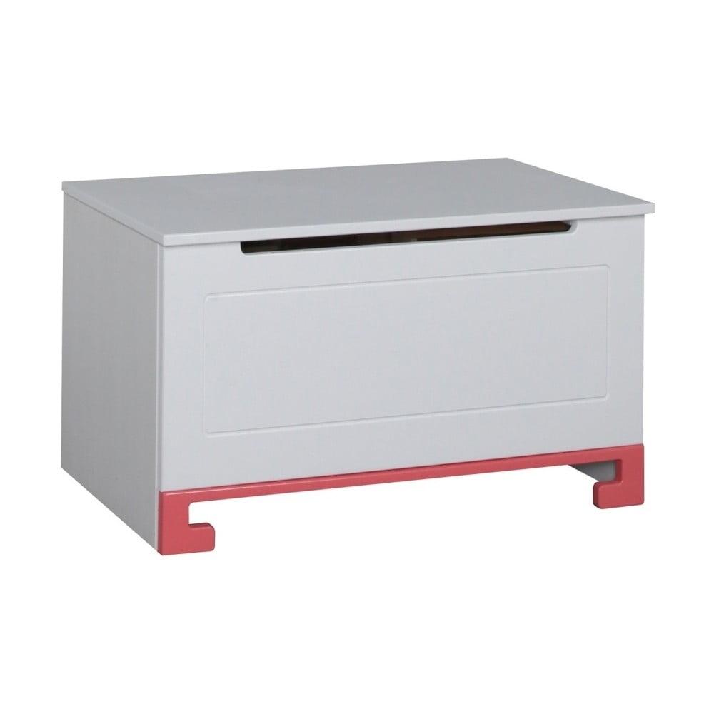 Bílý box na hračky z masivního borovicového dřeva s růžovými detaily Pinio ToTo