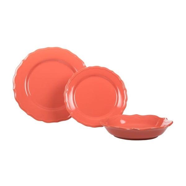 Sada 18 ks keramických talířů Pink Venice