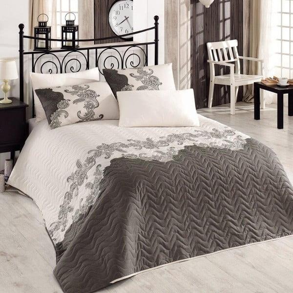 Mixscarlet Beige bézs kétszemélyes steppelt ágytakaró párnahuzattal, 200 x 220 cm