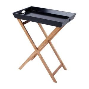 Dřevěný stolek s tácem Black/Natural, 60x40x74 cm