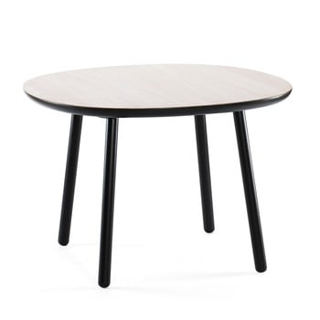 Masă dining din lemn masiv EMKO Naïve, 110 cm, alb - negru imagine