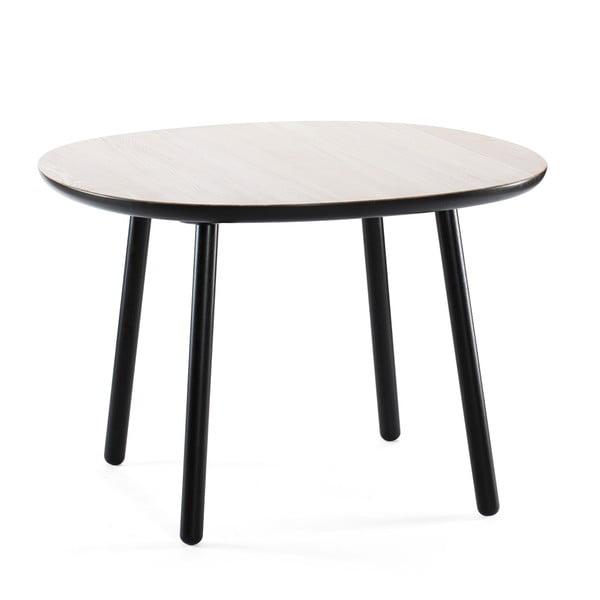Masă dining din lemn masiv EMKO Naïve, ø 110 cm, alb - negru