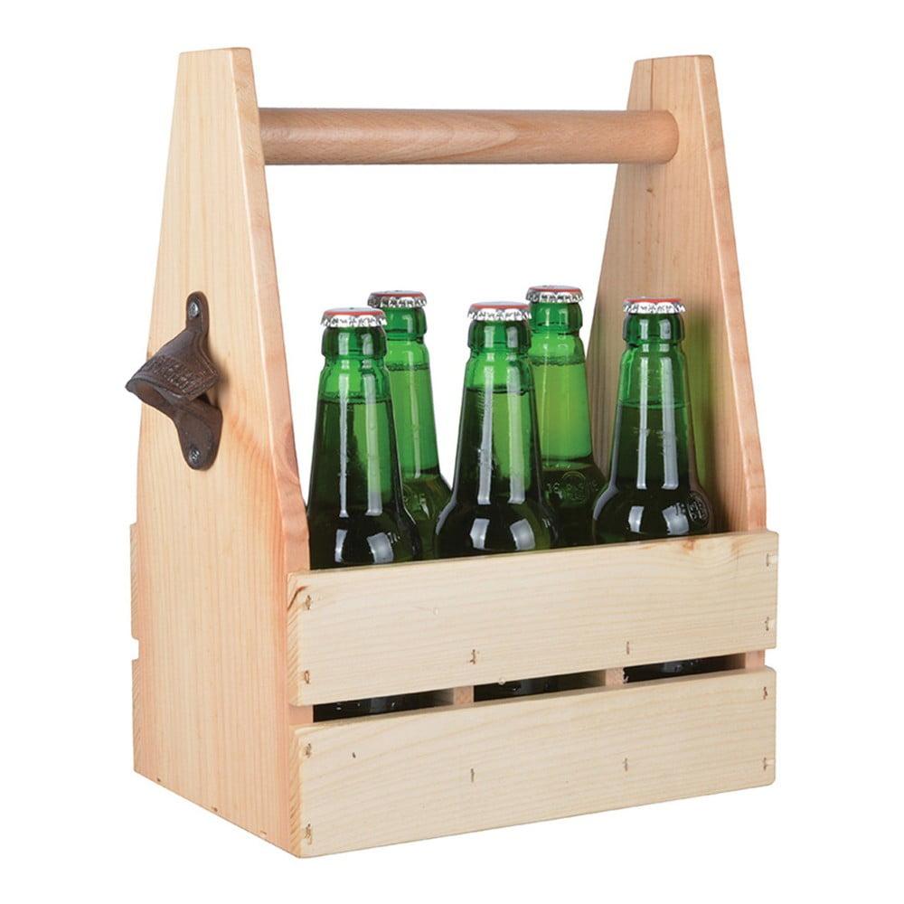 Dřevěná přenoska na lahve s otvírákem Esschert Design
