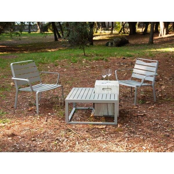 Zestaw 2 krzeseł ogrodowych i 2 stolików Ezeis Spring Ecotop Creamy