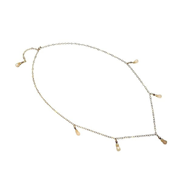 Zlatý náhrdelník Rose Quartz Teardrop (křemen)