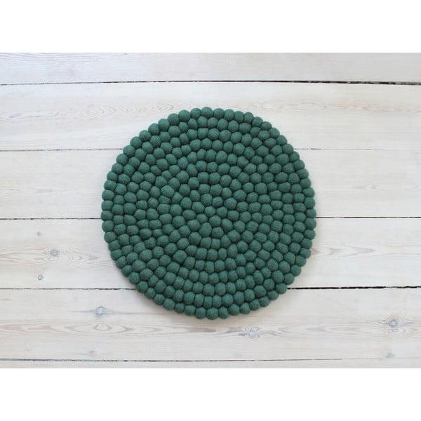 Tmavě zelený kuličkový vlněný podsedák Wooldot Ball Chair Pad, ⌀ 39 cm