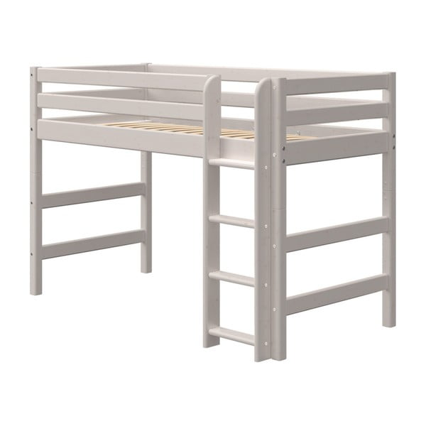 Šedá dětská postel z borovicového dřeva Flexa Classic, výška 143 cm