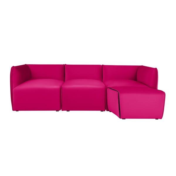 Růžová modulová třímístná pohovka s lenoškou Norrsken Ebbe