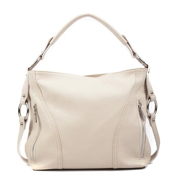 Béžová kožená kabelka Carla Ferreri Rita