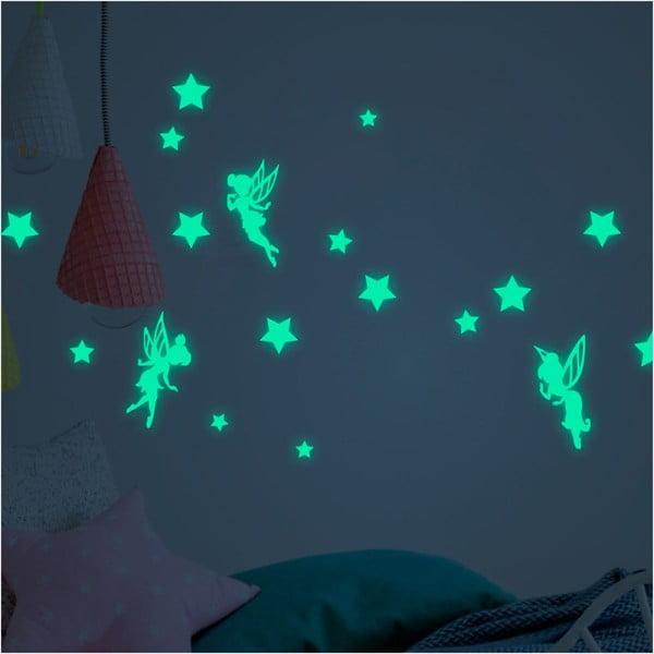 Sada nástěnných dětských svítících samolepek Ambiance Fairies and Stars