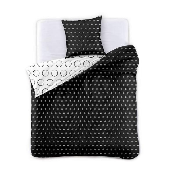 Czarno-biała dwustronna pościel dwuosobowa z mikrowłókna DecoKing Hypnosis Dark Night, 220x200 cm