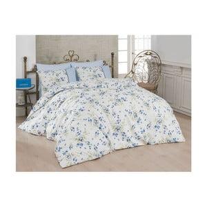 Lenjerie de pat cu cearșaf Modena, 200 x 220 cm, albastru - alb
