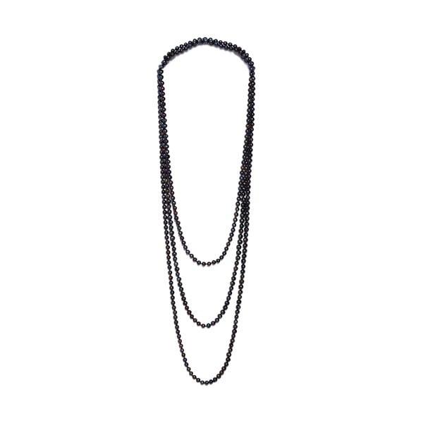 Dlouhý náhrdelník z říčních perel GemSeller Ajuga, černé perly