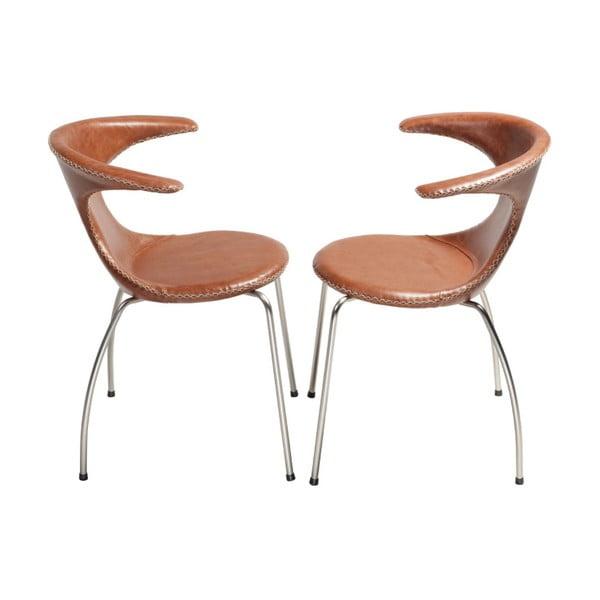 Hnědá kožená jídelní židle s pochromovaným podnožím DAN–FORM Flair