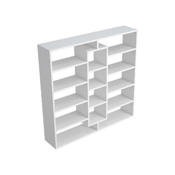 Bílá dřevěná knihovna Dalia, šířka 130 cm