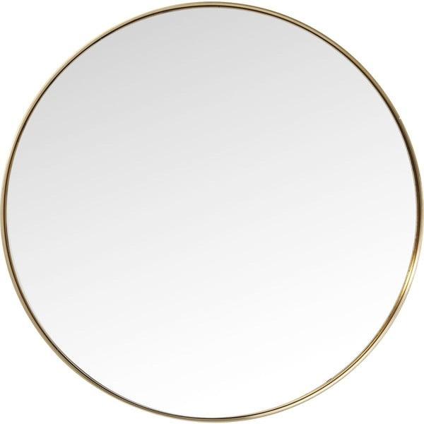Kulaté zrcadlo s rámem v mosazné barvě Kare Design Round Curve, ⌀100cm