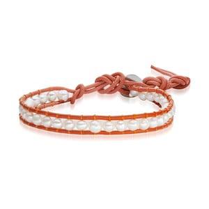 Dámský náramek oranžový z pravé kůže s perlami Lucie& Jade Amy