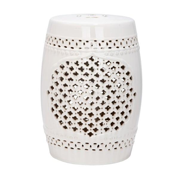 Krémovo-biely keramický stolík vhodný do exteriéru Safavieh Marbella, ø33cm