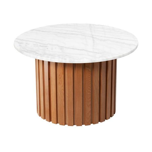 Bílý mramorový konferenční stolek s podnožím z dubového dřeva RGE Moon, ⌀ 85 cm