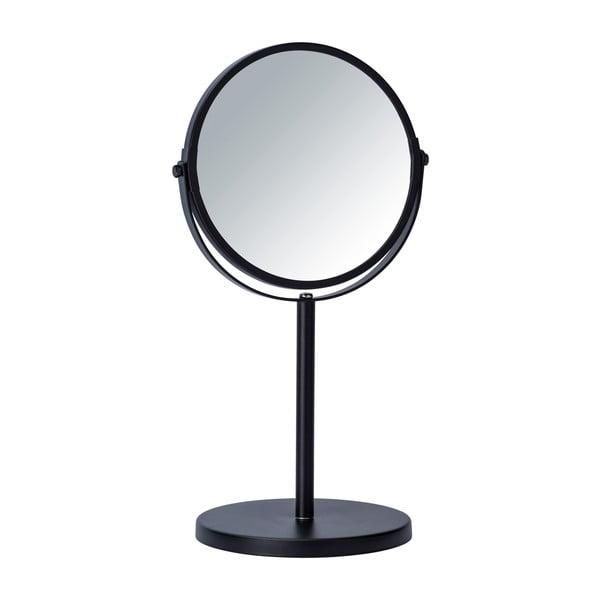 Černé kosmetické zrcadlo Wenko Assisi, ⌀17cm