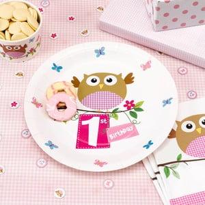 Sada 8 papírových talířů Neviti Little Owls 1st Birthday