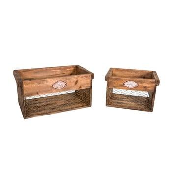 Set 2 cutii depozitare din lemn Antic Line de la Antic Line