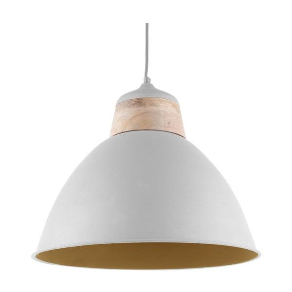 Bílé závěsné svítidlo s dřevěným detailem Leitmotiv Farm, ⌀41cm