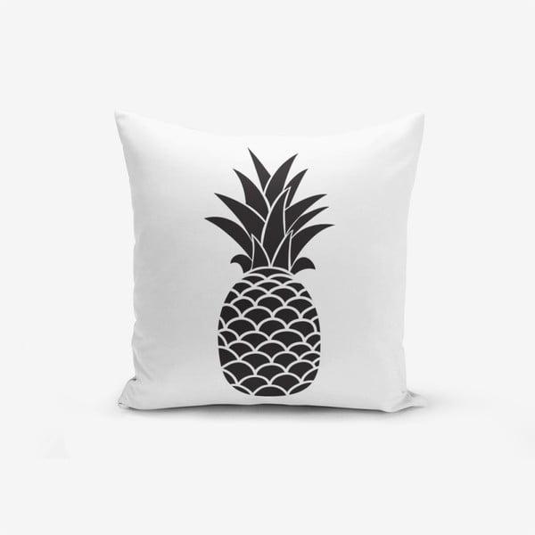 Față de pernă cu amestec din bumbac Minimalist Cushion Covers Black White Pineapple, 45 x 45 cm, negru - alb