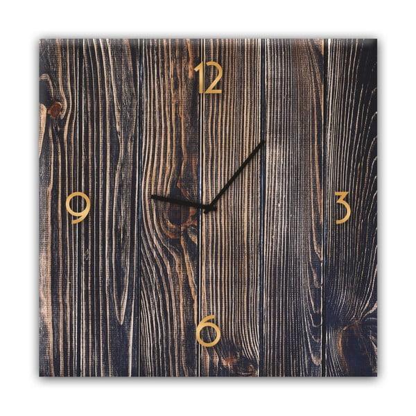 Nástenné hodiny Styler Glassclock Gold Wood, 30×30 cm