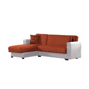 Canapea colț extensibilă cu spaţiu de depozitare, Esidra Chaise Longue, portocaliu - crem