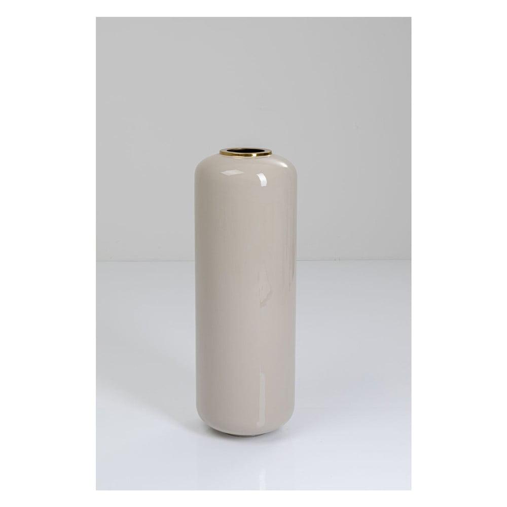 Světle šedá váza s detaily ve zlaté barvě Kare Design Charme