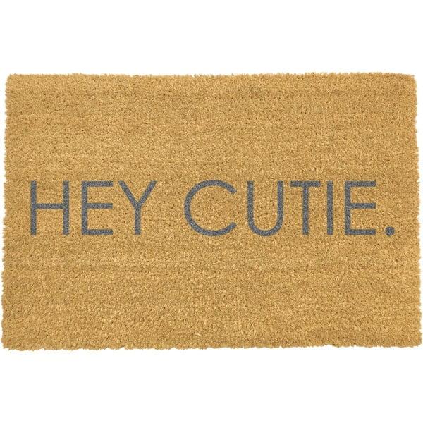 Šedá rohožka z přírodního kokosového vlákna Artsy Doormats Hey Cutie,40x60cm