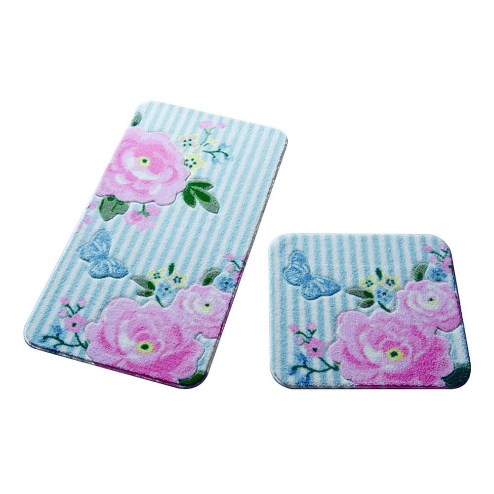 Sada 2 koupelnových předložek Confetti Bathmats Roses Pink