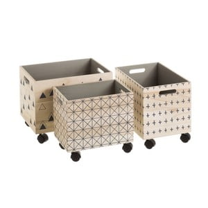 Sada 3 pojízdných úložných boxů ze dřeva Unimasa