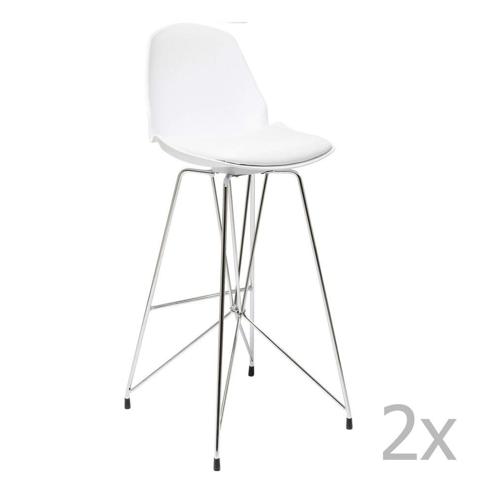 Sada 2 bílých barových židlí Kare Design Wire White