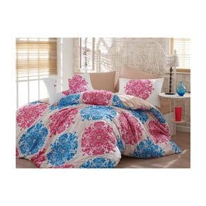Lenjerie de pat din cu cearșaf din bumbac Aura, 160 x 220 cm