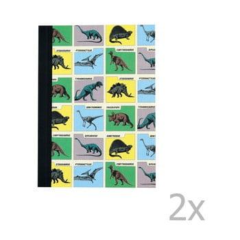 Set 2 caiete exerciții tip dictando cu imprimeu dinozaur Rex London Prehistoric Land de la Rex London