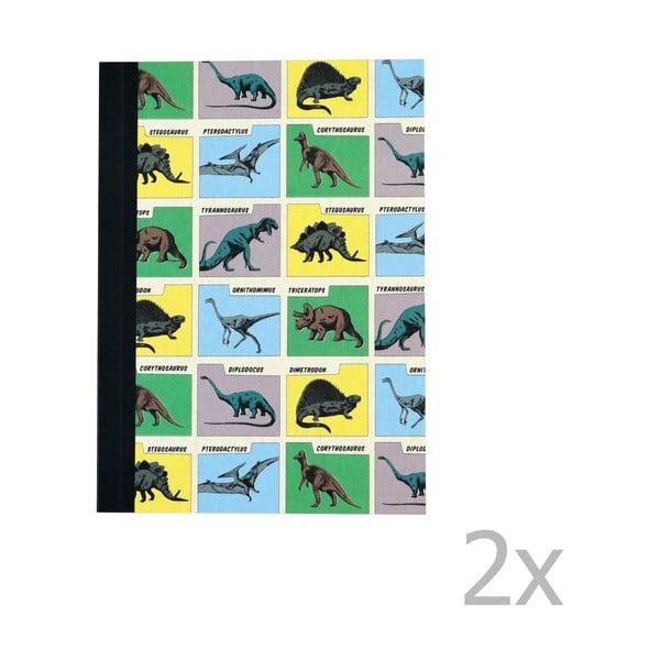 Sada 2 linajkových zošitov s potlačou dinosaurov Rex London Prehistoric Land