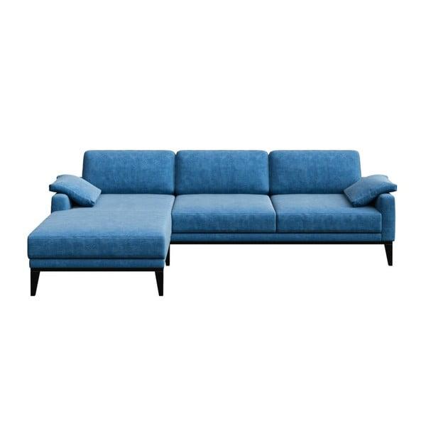 Modrá rohová pohovka s dřevěnými nohami MESONICA Musso Regular, pravý roh