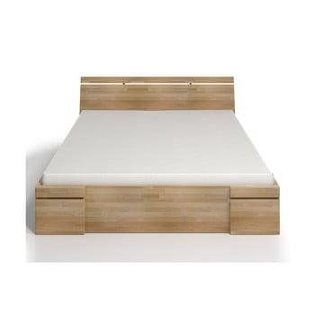Pat dublu cu sertar din lemn de fag SKANDICA Sparta Maxi, 200 x 200 cm