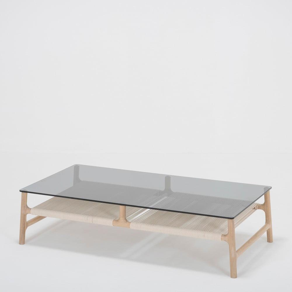 Konferenční stolek s konstrukcí z masivního dubového dřeva a šedou deskou Gazzda Fawn, šířka 120 cm