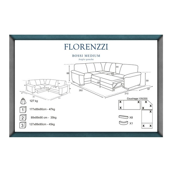 Bílá rozkládací pohovka Florenzzi Bossi, levýroh