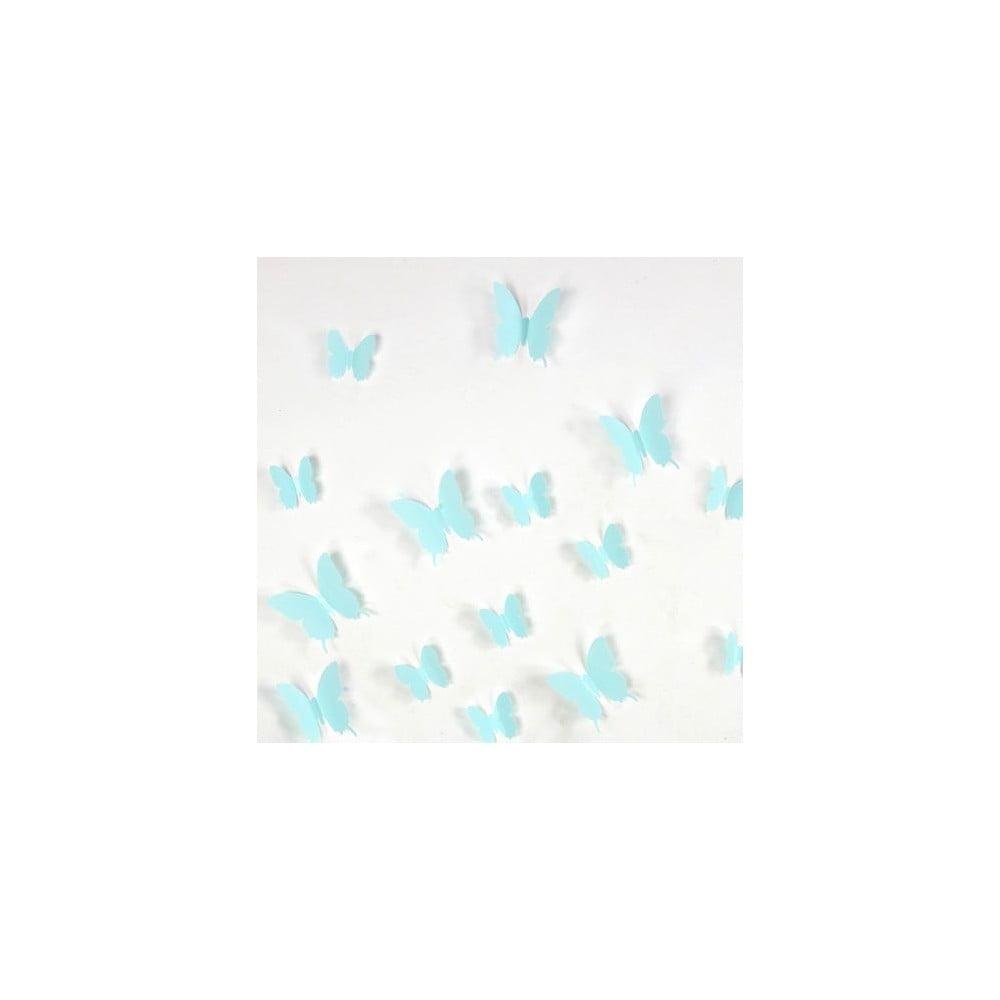 Sada 12 tyrkysových adhezivních 3D samolepek Ambiance Butterflies